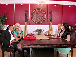 Gonzo 4some scene with lewd cougars Casey Cumz and Nikita Von Jame