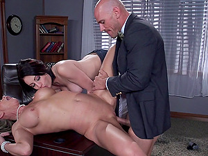 marvelous cowgirls share one dick in the office threesome