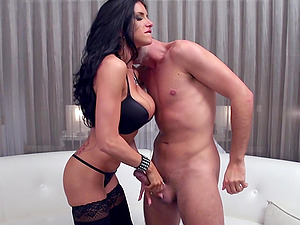 Beautiful Cougar With Lengthy Dark Hair Tonguing And Sucking A Stranger's Massive Man sausage