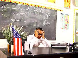 A crimson hot Cougar educator lets her student fuck her on her desk