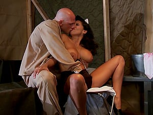 A military nurse uses her taut vulva to heal this soldier