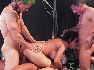 Gorgeous Dark-haired With Big Faux Tits Loving A Hard-core Group sex