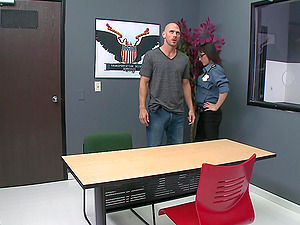 Cytherea gets banged on a desk after sucking and titfucking a dick