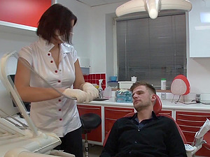 Horny Nurse Gives Her Patient a Fellatio and Some Twat