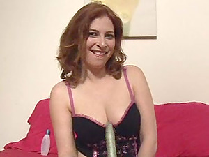 Kinky tart Ginger pulls her panty aside to masturbate her cunt
