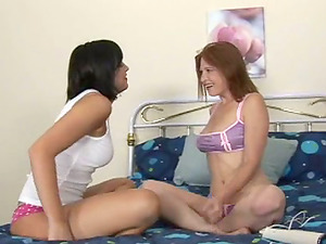 Unexperienced lezzies wearing underpants fondle each other and use a hitachi