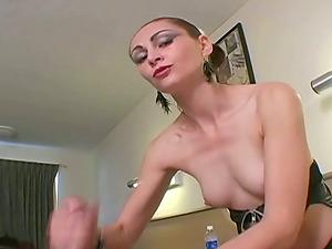 Athletic Teenage With Petite Tits Providing A Dude A Handjob