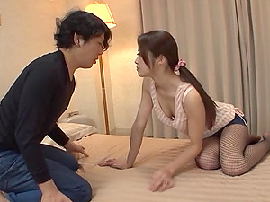 Gorgeous Japanese In Fishnets Liking Her Twat Being Gobbled