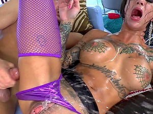 Tattooed Cowgirl With Faux Tits Drilled Missionary