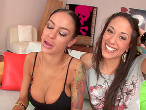 Brunettes With Faux Tits Suck Jizz-shotgun In Oral Overdose