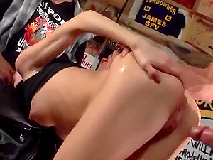 Skinny brown-haired with natural tits getting her caboose crevice drilled doggystyle