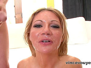 Lovely Cougar loves ball gobbling and deepthroating shafts in Hard-core FFM threesome