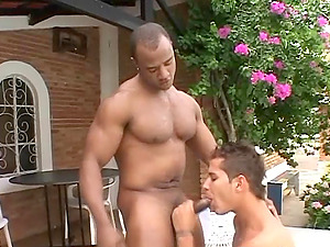Nasty Latino homosexual gets his butt smashed by a black stud in the yard