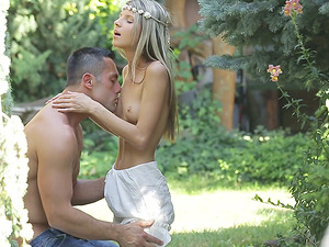 Enchanting Stunners Gulps Jism After Being Drilled Outdoor