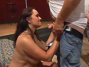 Alluring cougar with big tits providing numerous mighty dicks oral pleasure in reality shoot
