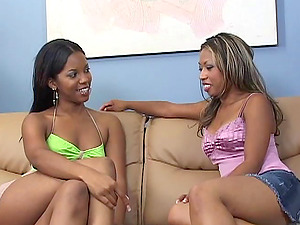 Dark-hued Sapphic In Miniskirt Drilling A Cunt With A Strap On