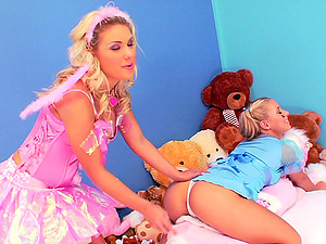 Aubrey Addams and Nikky Thorn fondle each other and share a man sausage