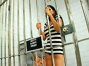 Girl/girl have threesome in jail garb and plaything fuck bum after eating cunt