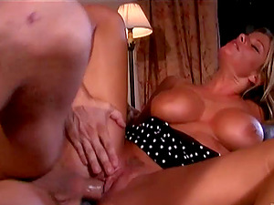 Winsome Blonde With Faux Tits Providing Massive Dick Tit-fucking