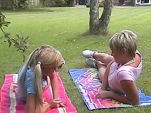 Ponytails Girl-on-girl With Hot Caboose Tonguing A Tasty Labia Outdoor