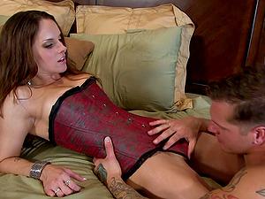 Krystal Main fellates dick and gets fucked before pegging stud