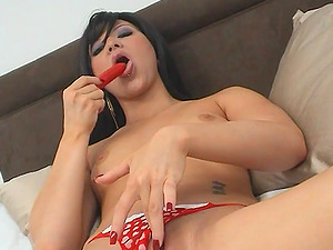 Lovely Lacey Sweet thumbs and fucktoys her nice cootchie in solo movie