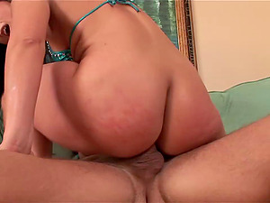 Ass fucking bitch gets banged and takes internal cumshot in asshole in close up