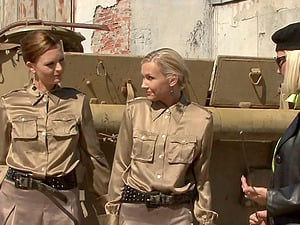 Two sexy military women have a lezzy meet up while in uniform