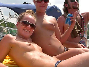 Gorgeous honies in bathing suit have joy on a yacht in outdoor soiree