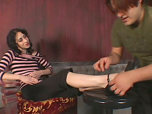 Foot worship female domination movie with black-haired bitch, Mina Meow