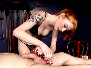 Dude getting a ball busting torment then spanked in a Sadism & masochism female dominance slavery