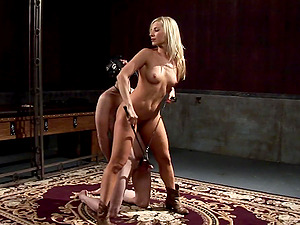 Ashley Fires tantalizes fellow who is enslaved and ball busted in Domination & submission scene