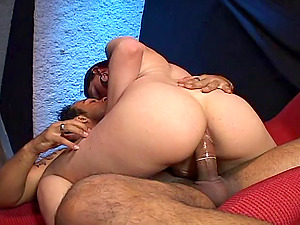 Lustful shemale gets her asshole tongued and pounded hard