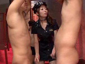 Hard-core MMF female dominance clip with Japanese cop Arisu Miyuki