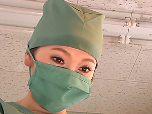 Japanese medic gives a blowage to her co-worker at her work place