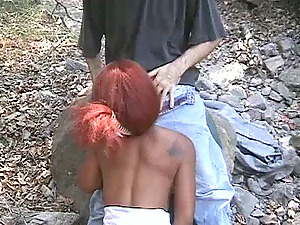 Wonderful black cowgirl with a pierced cootchie luving a spicy interracial fuck outdoors