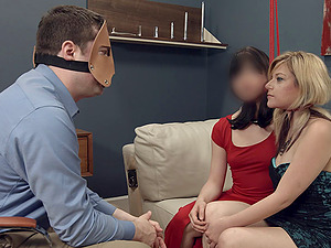 Slaved bimbo in restrain bondage getting abased in threesome Sadism & masochism fuck-a-thon