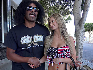 Yankee fuckslut with lengthy hair gets smoothly-shaven vagina plowed by three big black schlongs