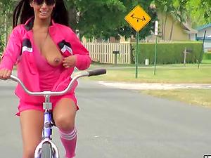 Adriana Milano Railing Bike Naked and Masturbating in the Park