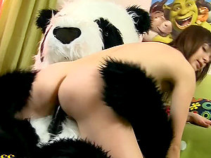 Dark haired Teenager Plays with a Massive Fuck stick and Her Panda Cub Fucktoy Jizz-shotgun