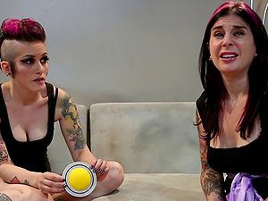Wild lesbo punks frigging their staving cunts to reach orgasm