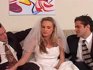 Beautiful bride cuckolds her loser spouse on their wedding day