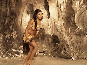 A dude fucks a hot dame who is clad like she is from the stone age