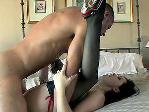 Kinky high-heeled stunner with a curvy awesome bod gobbling and sucking a stranger's massive jizz-shotgun