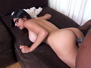 Sweet dark haired in glasses relishing a monster shaft in her vagina