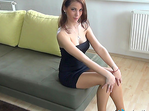 Inviting Italian dark haired is hypnotizing with her feet