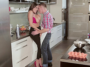 An afternoon cooking lesson turns into a xxx FFM threesome