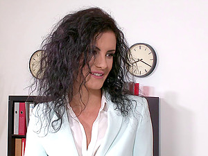 Lengthy haired doll has her trimmed cootchie banged in a close up shoot