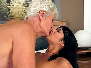 Mature granny groaning as her shaggy twat is tongued by her girly-girl pal