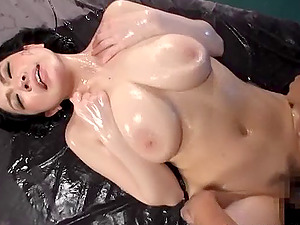 Big breasts Japanese mummy getting bonked in a mmf messy threesome